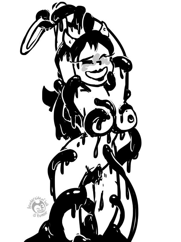 ink machine bendy female and the Kono yusha ga ore tueee kuse ni shincho sugiru