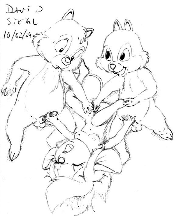 robot and chicken chip dale Ad-6-0001a